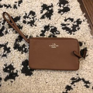 Coach Taupe Small Leather Wristlet